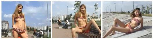 Jovencita exhibicionista en el parque
